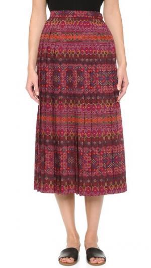 Плиссированная юбка Saint Laurent What Goes Around Comes. Цвет: мульти