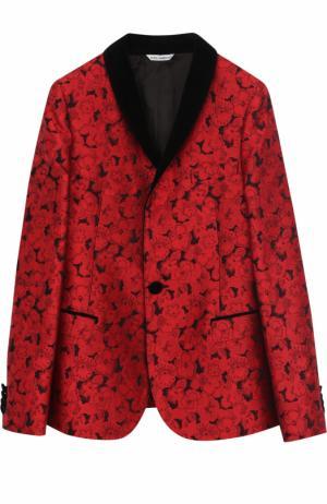 Пиджак таксидо из парчи с контрастными лацканами Dolce & Gabbana. Цвет: красный