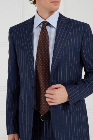 Коричневый галстук с принтом Canali. Цвет: коричневый