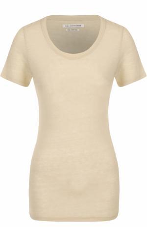 Шелковая приталенная футболка Isabel Marant Etoile. Цвет: кремовый