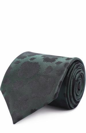 Шелковый галстук с принтом Kenzo. Цвет: хаки