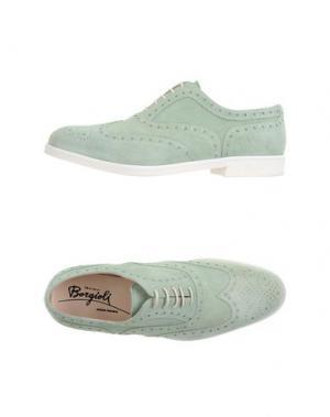 Обувь на шнурках BORGIOLI. Цвет: светло-зеленый