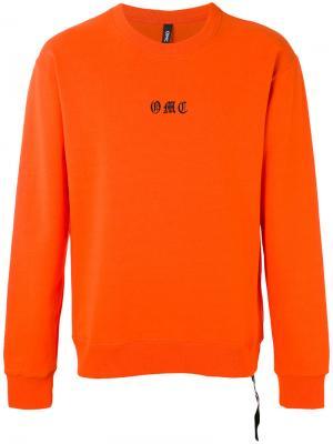 Толстовка с вышивкой логотипа Omc. Цвет: жёлтый и оранжевый