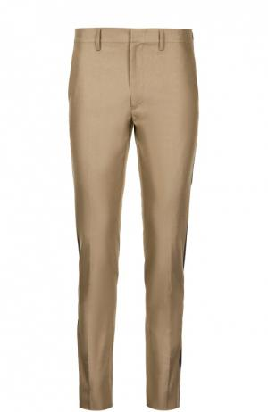 Хлопковые брюки с лампасами Valentino. Цвет: бежевый