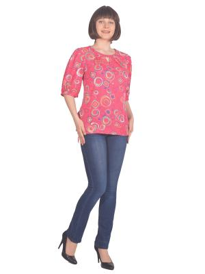 Блузка Томилочка Мода ТМ. Цвет: розовый, желтый
