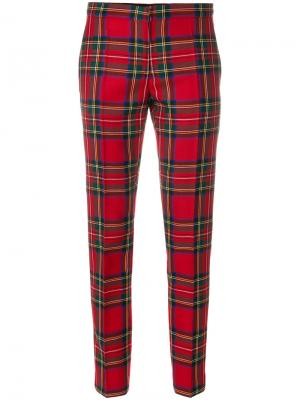 Классические брюки в шотландскую клетку Burberry. Цвет: красный