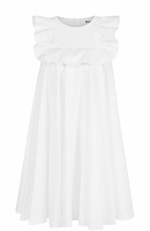 Хлопковое мини-платье с оборками и завышенной талией MSGM. Цвет: белый