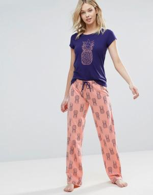 Loungeable Пижамный комплект с ананасами. Цвет: розовый