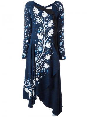 Платье с цветочным узором Peter Pilotto. Цвет: синий