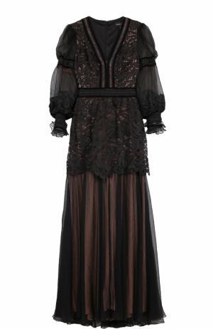 Приталенное платье-макси с V-образным вырезом Tadashi Shoji. Цвет: черный