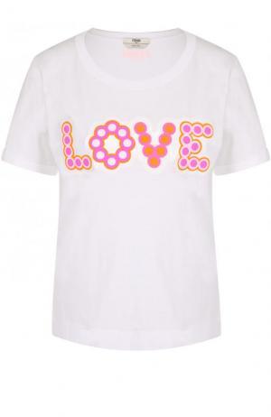Хлопковая футболка с контрастной надписью Fendi. Цвет: белый