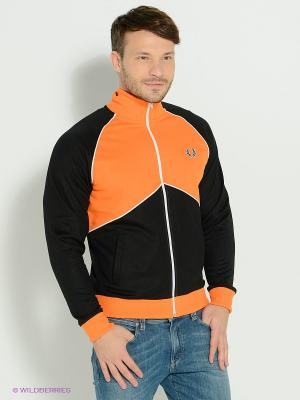 Толстовка Fred Perry. Цвет: оранжевый, черный