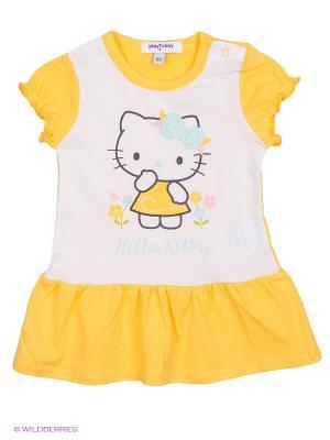 Платье PlayToday. Цвет: белый, желтый