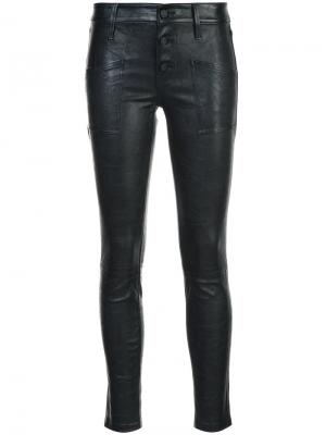 Кожаные брюки скинни Rta. Цвет: чёрный