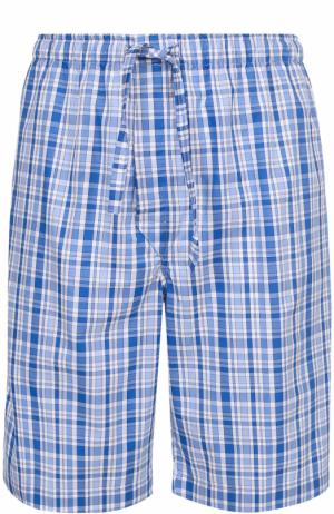 Хлопковые домашние шорты свободного кроя Derek Rose. Цвет: голубой