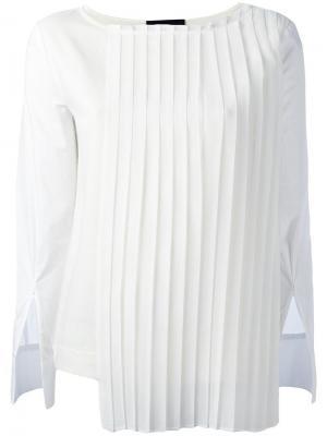 Блузка с плиссированной панелью Erika Cavallini. Цвет: белый