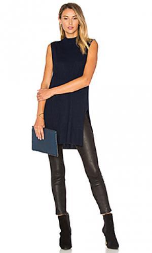 Свитер в рубчик с овальным вырезом Autumn Cashmere. Цвет: синий
