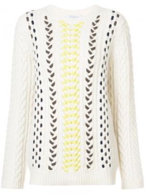 Вязаный свитер с плетеной отделкой Gabriela Hearst. Цвет: телесный