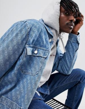 Wood Джинсовая куртка с принтом. Цвет: синий