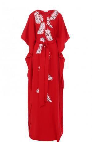 Шелковое платье-макси с контрастной вышивкой и поясом Oscar de la Renta. Цвет: красный