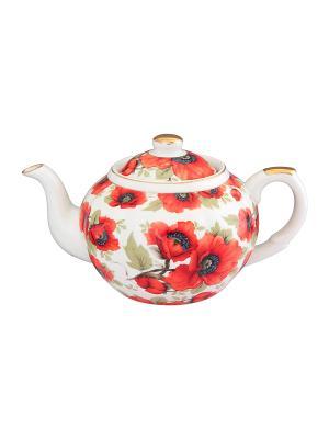Чайник с металлическим ситом Маки Elan Gallery. Цвет: красный, белый