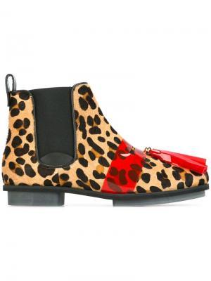 Ботинки с леопардовым принтом House Of Holland. Цвет: телесный