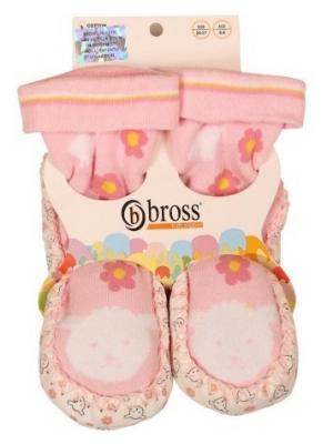 Тапочки-носки противоскользящие BROSS. Цвет: розовый