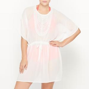 Платье кафтан пляжное CASTALUNA. Цвет: оранжевый,экрю