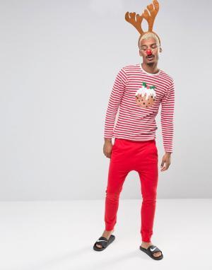 SSDD Новогодняя пижама в полоску. Цвет: красный