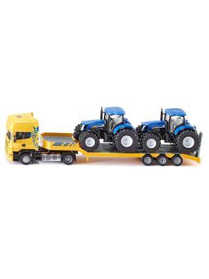 Тягач с тракторами (1:50) SIKU. Цвет: черный, желтый, синий