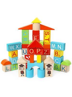 Деревянная игрушка Конструктор Большой город Фабрика Фантазий. Цвет: синий, желтый, красный