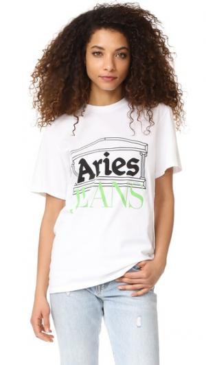 Футболка  с логотипом Aries. Цвет: белый