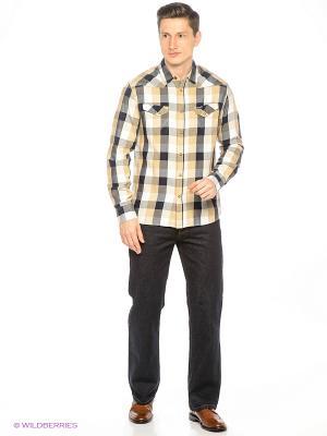 Рубашка Wrangler. Цвет: светло-оранжевый, синий, серый