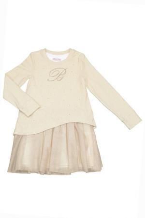 Платье BABY BLUMARINE. Цвет: бежевый