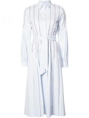 Плиссированное платье-рубашка Gabriela Hearst. Цвет: синий