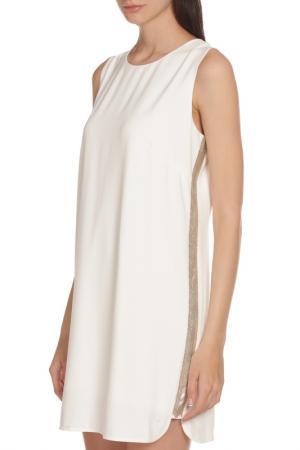 Свободное платье украшенное бисером BCBG Max Azria. Цвет: белый