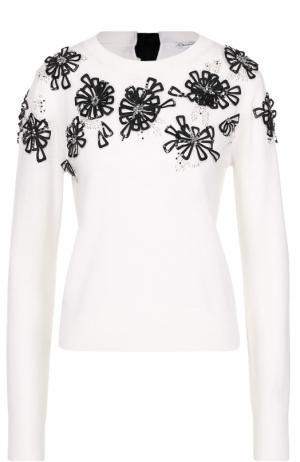 Шерстяной пуловер с контрастной фактурной отделкой Oscar de la Renta. Цвет: белый
