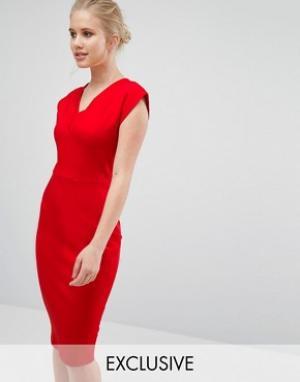 Closet London Платье-футболка с V-образным вырезом. Цвет: красный