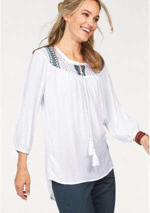 Блузка CHEER. Цвет: белый/зелено-синий