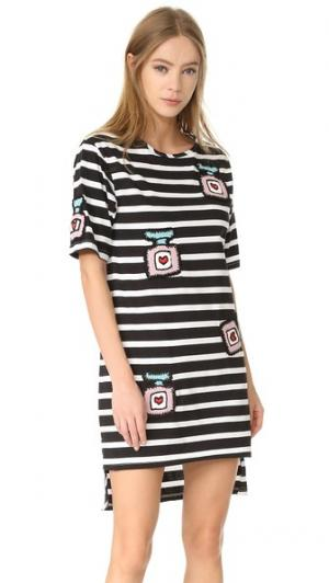 Платье-футболка свободного кроя Michaela Buerger. Цвет: черный/белый