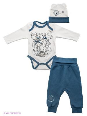 Комплект одежды Апрель. Цвет: синий, молочный