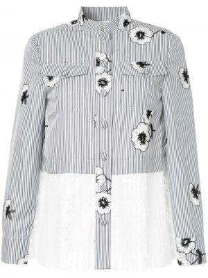 Полосатая рубашка с цветочной вышивкой Huishan Zhang. Цвет: синий