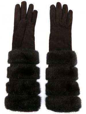 Длинные перчатки с меховой отделкой Loro Piana. Цвет: коричневый