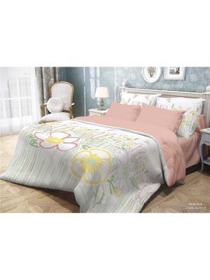 Комплект постельного белья семейный, ВОЛШЕБНАЯ НОЧЬ, ранфорс 70*70см, стиль-Версаль, Herbarium ночь. Цвет: зеленый, красный, фуксия, желтый, белый