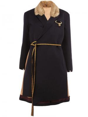 Collar detail contrast belt coat Undercover. Цвет: синий