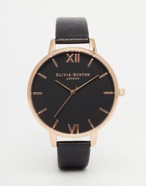 Olivia Burton Позолоченные часы с большим черным циферблатом. Цвет: черный