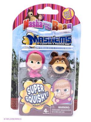 Детская игрушка Маша и Медведь, игрушки-мялки, 2 шт. в наборе медведь. Цвет: розовый, коричневый