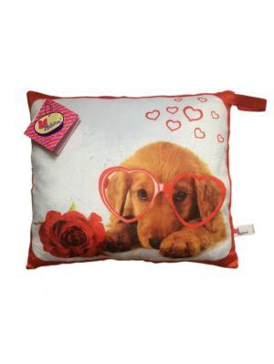 Мягкая игрушка-подушка Влюбленная собачка Malvina. Цвет: красный, белый