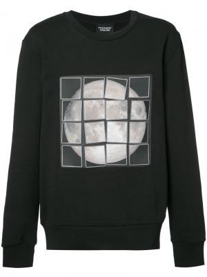 Толстовка с изображением луны в технике пэчворк Christopher Raeburn. Цвет: чёрный