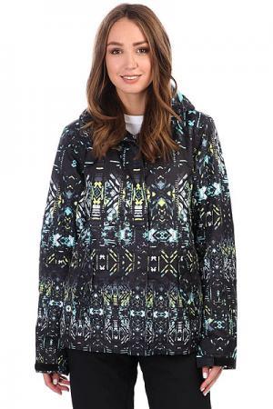 Куртка утепленная женская  Rx Jetty True Black_haveli Roxy. Цвет: черный,голубой,желтый